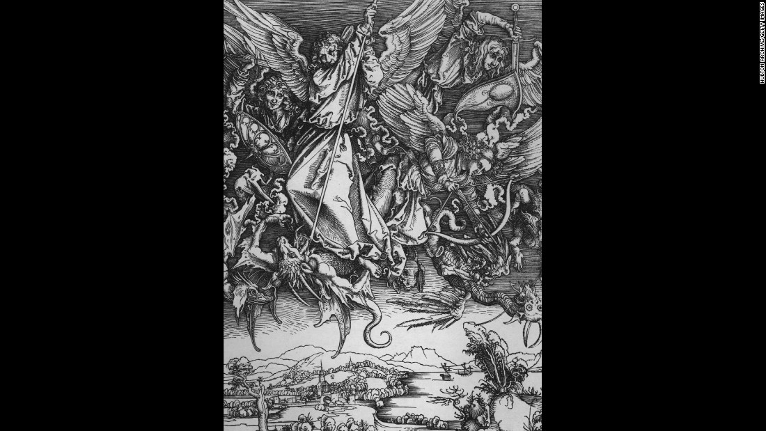 "Albrecht Dürer's iconic visualisation of the Apocalypse, in which he condensed the narrative of the Book of Revelation into a mere 15 woodcut images (as opposed to the 80 or so images of the illuminated manuscript versions of the text) represents the first serious attempt to exploit the economic potential of the Apocalypse by giving it a ""Renaissance-spin."" His 'Apocalypse books' were a sellout and went through many more editions during the early 16th Century. While Dürer's Four Horsemen is perhaps the best-known image from this series today, this beautiful image of St Michael and his Angels fighting the Dragon (Rev.12) is a wonderful evocation of the heavenly apocalyptic drama described in this Chapter. And down below, the earthly realm, here depicted by Dürer as late 15th-Century Nuremberg remains oblivious to the fight between good and evil that rages above. A poor imitation artistically, this series, in which the Beasts and the Whore of Babylon are identified as the Pope and the Church, Cranach's series represents the most enduring polemical visualisation of the Apocalypse perhaps ever seen).<br />"