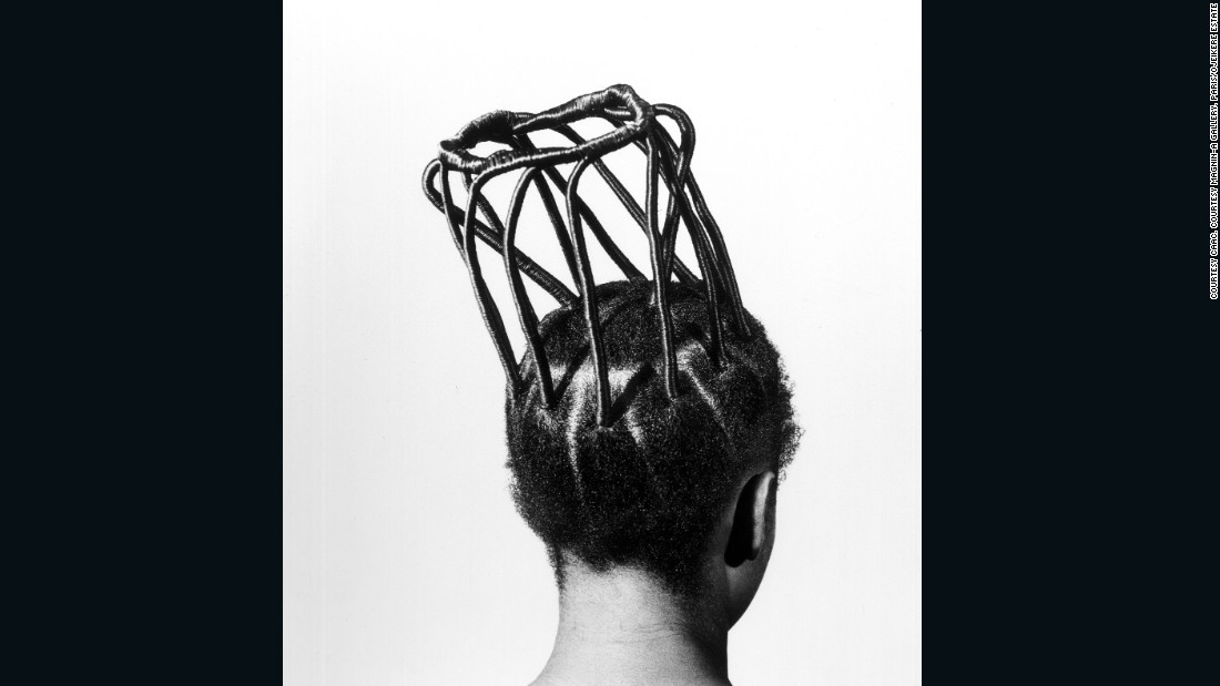 "From the series ""Hairstyles,"" Ojeikere's portfolio would be called ""<a href=""http://edition.cnn.com/2014/10/13/world/africa/a-love-letter-to-nigeria-ojeikere/"">a love letter to Nigeria</a>"" after his passing in 2014. A giant of the African photography scene, he was a keen documenter of contemporary culture. This anthropological series about Nigerian hairstyle went on to achieve iconic status."