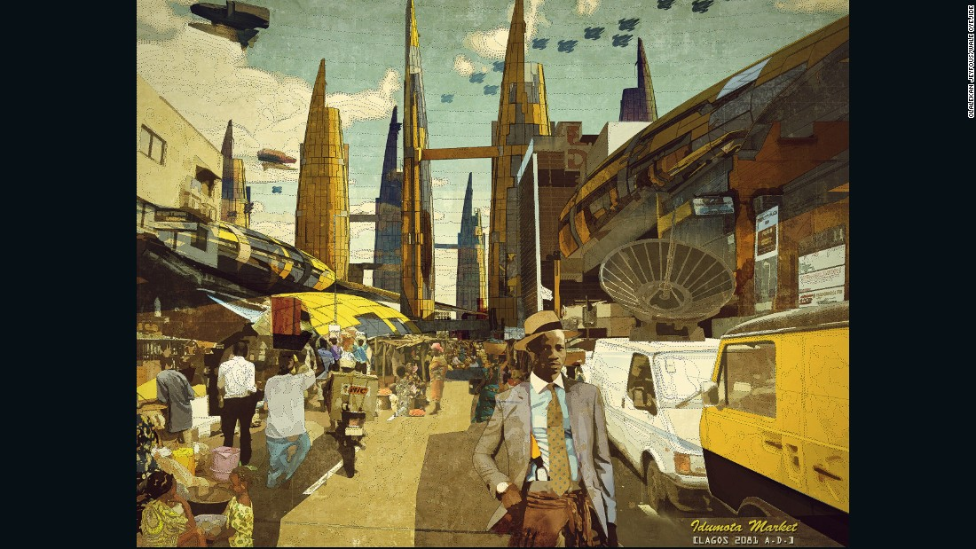 "From the series ""Our Africa 2081 A.D.,"" Afrofuturist Ikire Jones imagines the changes ahead for the continent. The population of Lagos itself is already 17.9 million people strong, and <a href=""http://edition.cnn.com/2015/08/27/africa/lagos-population-2050/"">rapid urban redevelopment is necessary</a> for the city to cope with future population growth."