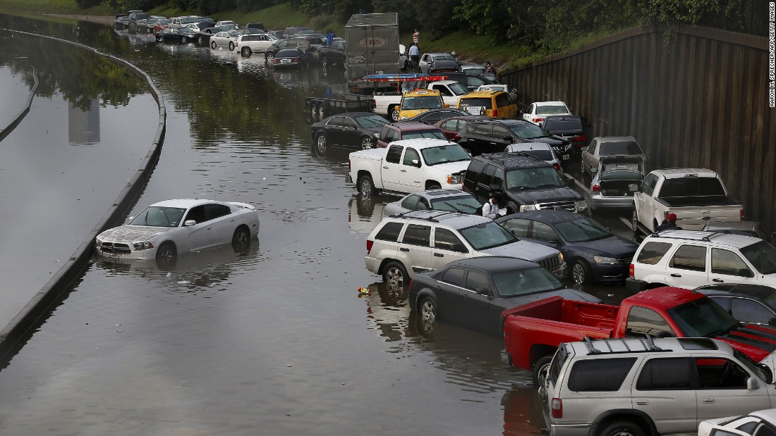 Vehicles are left stranded on flooded Interstate 45 in Houston, Texas on May 26. Heavy rains and flash flooding hit much of the state of Texas hard in late May, including in Dallas and Houston. The deluge helped to make 2015 the wettest year in Texas history, with records going back to 1895.<br />