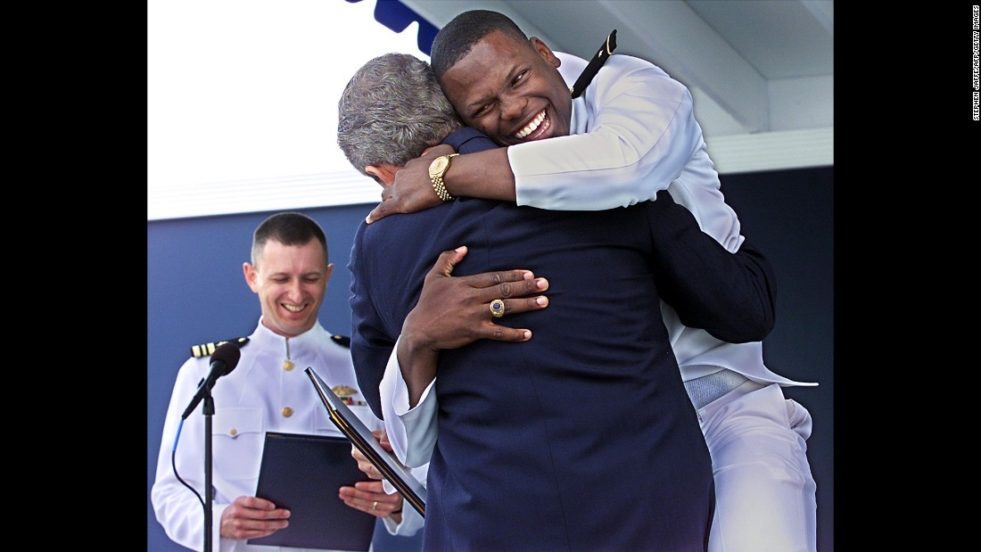 Jones graduated from the U.S. Naval Academy in 2001. He's the first to admit he lost his military bearing when President George W. Bush awarded him the diploma. He even gave Bush a bear hug. Today, Jones, a lieutenant commander, is the executive officer on the USS Anzio, a guided-missile cruiser.