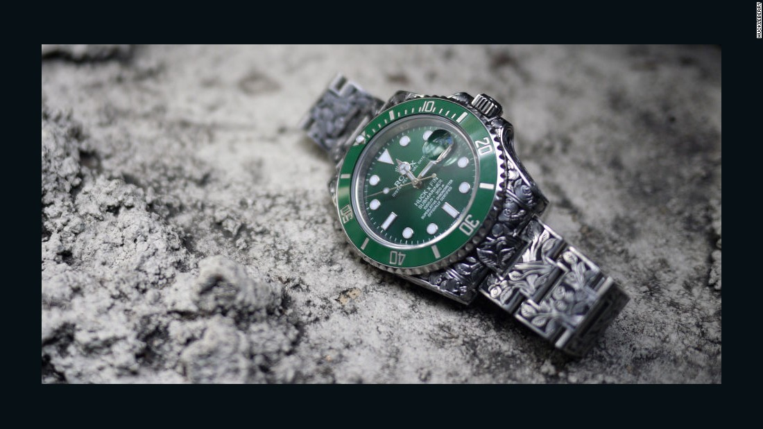 Customization of high-end timepieces is a growing popular as well, and we expect many innovative designs in 2016. The newest player, with the unlikely name Huckleberry, specializes in intricately engraved Rolex timepieces, like this green dial Submariner -- which took 140 hours of labor to complete and costs $37,500. Others like Project X and Bamford Watch Department have begun to offer blacked-out stealth versions of Rolex sports models and are branching out with different designs and a wide palette of custom color options.