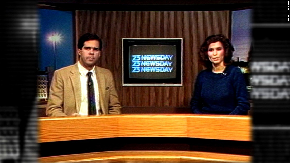 "Her first television job was in Akron, Ohio, at WAKR-TV 23. She did it all: reporting news, traffic and weather. She also became the weekend solo anchor in 1983 but was joined by Jim Kambrich the day this photo was taken.  <br /><br />""When I refused to do the weather full-time, I was fired because I wasn't a team player,"" Costello recalls."