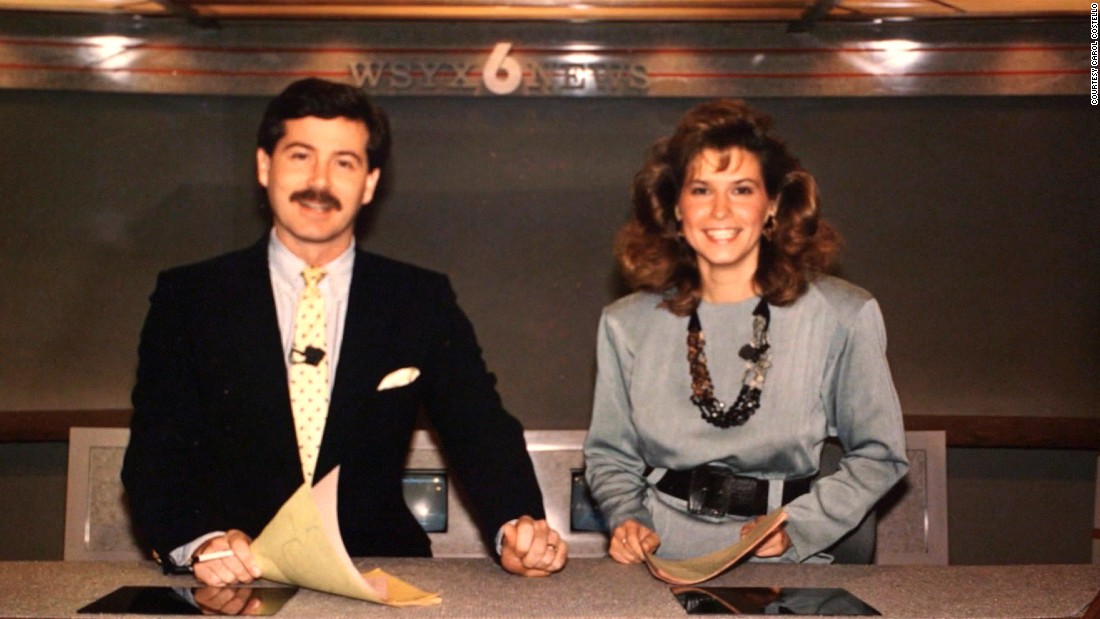 Costello is shown with a Channel 6 crew member in field. Four months after being hired as a reporter for WSYX-TV, she was promoted to weekend co-anchor. The 26-year-old shared the spotlight with Bill Martin.