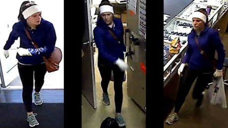 The FBI is seeking to identify this woman wanted in a string of robberies.