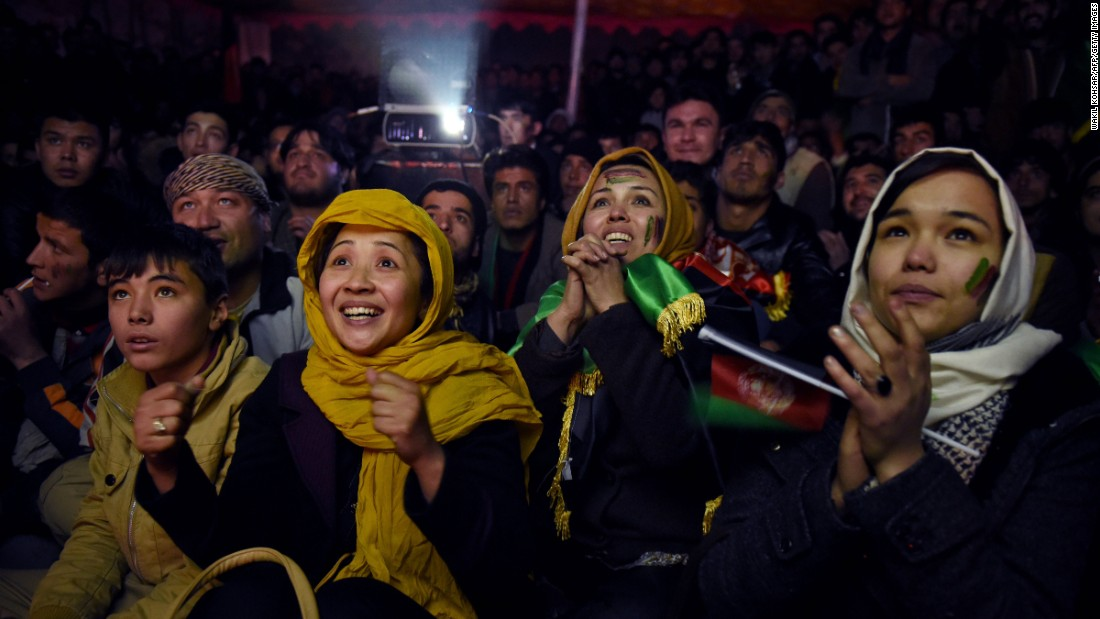 Soccer fans in Kabul, Afghanistan, cheer for their national team as they watch a broadcast of the team playing India on Sunday, January 3.