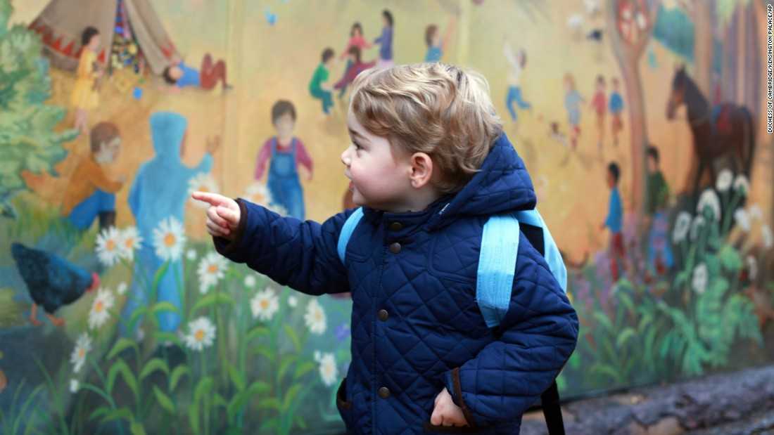 "Britain's <a href=""http://www.cnn.com/2014/12/13/world/gallery/prince-george/index.html"" target=""_blank"">Prince George</a> attends his first day of nursery school in this photo taken by his mother Wednesday, January 6, in Norfolk, England."