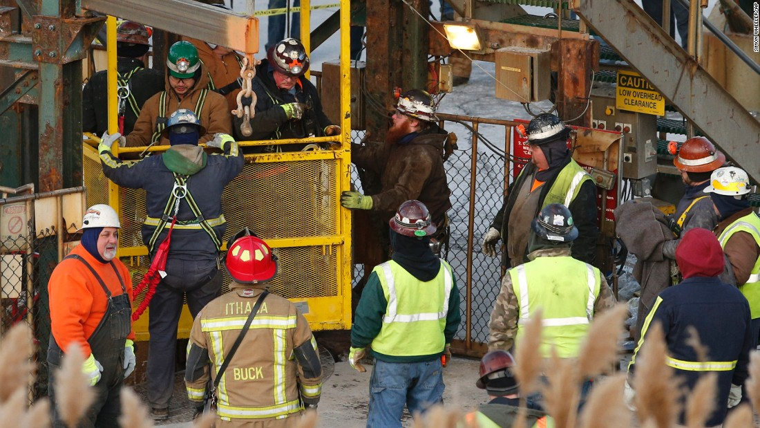 "Miners emerge from an elevator shaft Thursday, January 7, <a href=""http://www.cnn.com/2016/01/07/us/new-york-miners-trapped/"" target=""_blank"">after they were stuck overnight</a> in Lansing, New York."