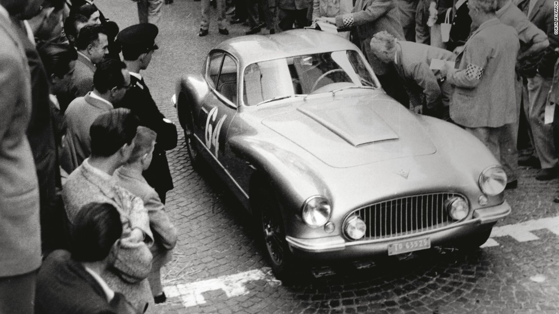 Anna Maria Peduzzi drove her FIAT 8V Zagato -- one of just five ever constructed -- to second place in this grueling race, 1956 Coppa Internazionale della Dama.