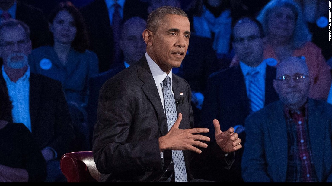 """""""Our position is consistently mischaracterized,"""" Obama said. """"If you listen to the rhetoric, it is so over-the-top, it is so overheated."""" Earlier this week, he <a href=""""http://www.cnn.com/2016/01/05/politics/obama-executive-action-gun-control/index.html"""" target=""""_blank"""">unveiled a series of executive actions on guns,</a> including expanded background checks. """"All of us can agree that it makes sense to do everything we can to keep guns out of the hands of people who would do others harm, or themselves harm,"""" he said."""