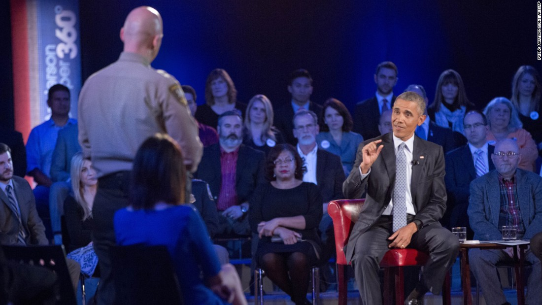 "Obama answers a question from Paul Babeu, a sheriff in Arizona running for Congress. Babeu asked Obama what he's doing to prevent mass shootings, not target guns. Obama criticized the idea that ""if we can't solve every crime, we shouldn't try to solve any crimes,"" which received applause from the audience. ""The problem is in many instances, you don't know ahead of time who is going to be the criminal."""