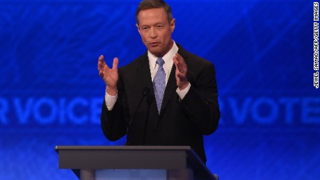 US Democratic Presidential hopeful Martin O'Malley participates in the Democratic Presidential Debate hosted by ABC News at the Saint Anselm College in Manchester, New Hampshire, on December 19, 2015.