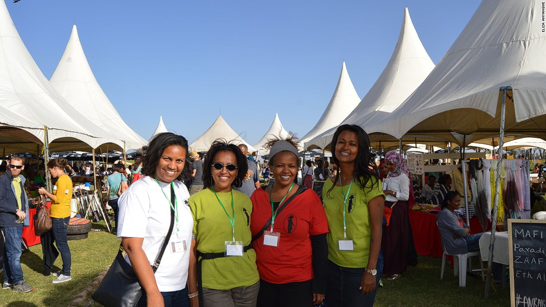 Abeba Nerayo (in red) with her co-founders of Anbar marketplace. The event which started in 2014 now gathers 80 vendors two to four times a year.