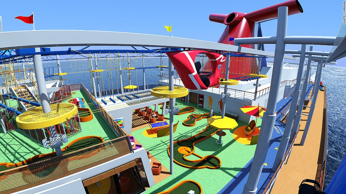 "The Carnival Vista launches in May 2016 in the Mediterranean then will homeport in Miami, Florida. Attractions will include a ""SkyRide"" -- the cruise industry's ""first pedal-powered, aerial attraction."""