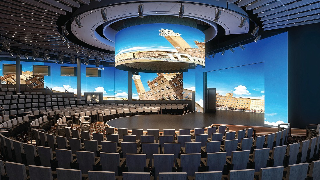 Holland America's ms Koningsdam, which will hold about 2,650 guests, departs Italy in April 2016 and will sail the Mediterranean. The ship's World Stage, pictured, will feature a 270-degree LED screen and host various musical and theatrical performances.