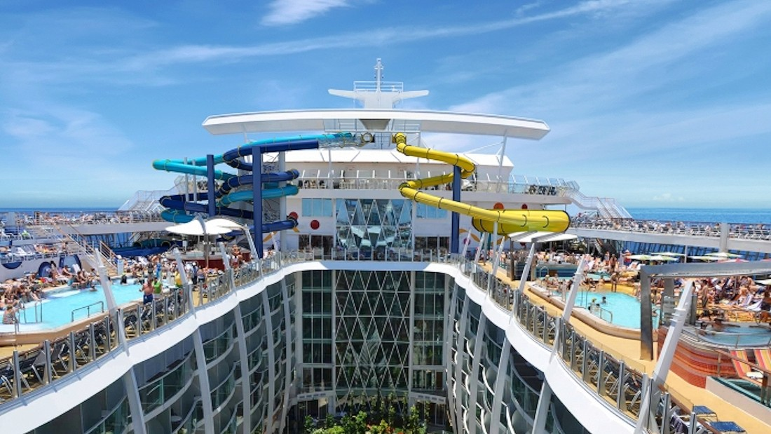 Stretching 1,187 feet, Royal Caribbean's Harmony of the Seas will soon be the largest ship sailing the globe. Along with towering water slides are water cannons, a drench bucket, multi-platform jungle gym, two climbing walls, a zip line and ice skating rink.