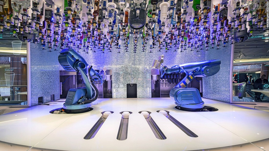These two robotic bartenders are the main draw at Royal Caribbean's Bionic Bar. They can mix two drinks in one minute.