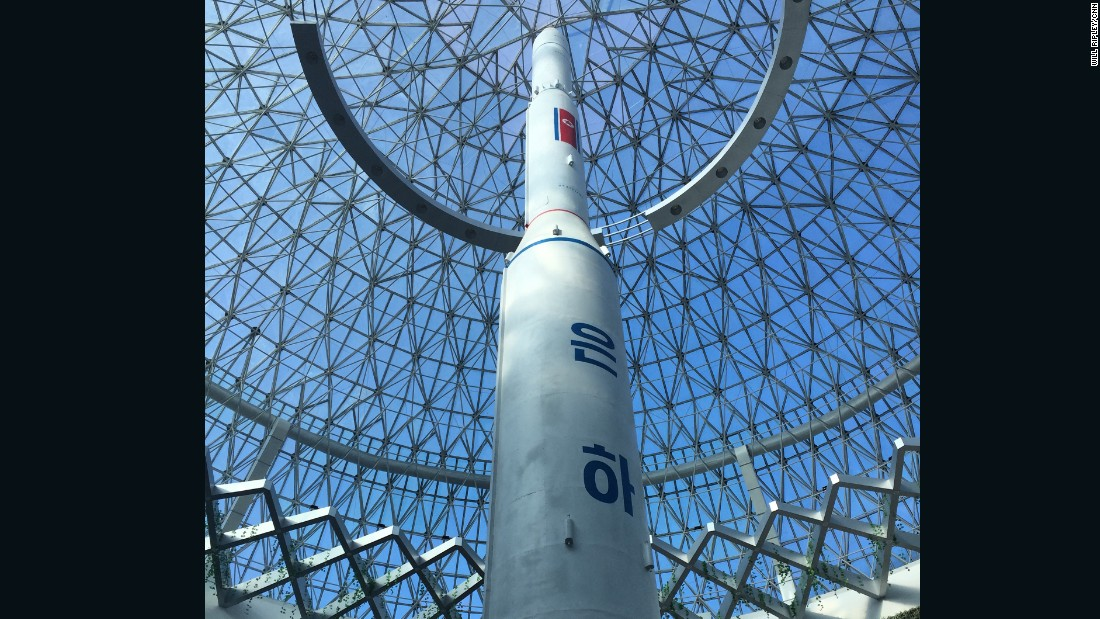 The building is centered around a replica of the rocket that launched North Korea's one and only satellite in 2012.