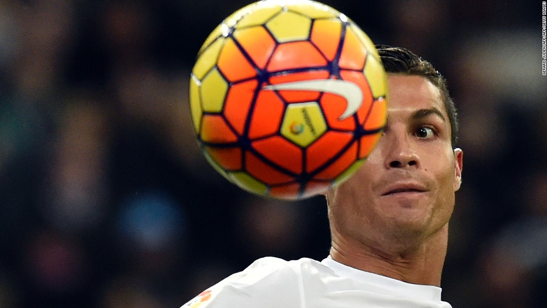 Cristiano Ronaldo eyes the ball during Real Madrid's comfortable win. The Portuguese marksman failed to score despite being presented with a number of opportunities.