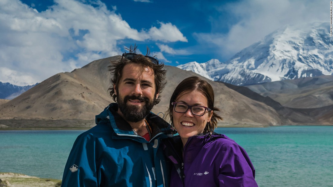 Jarryd Salem and fiancee Alesha Bradford, pictured here in China's Xinjiang province, say their relationship is strong but they're spending time apart to help heal it.