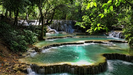 Kuang Si Falls, one of the few things that stirs in Luang Prabang on Christmas.