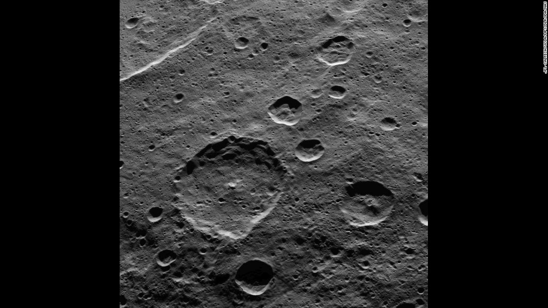 You can see part of Ceres' southern hemisphere in this image taken on October 18, 2015. The big crater in the middle of the picture is called Hamori after a Japanese god and protector of tree leaves. The crater is 37 miles (60 kilometers) in diameter. Dawn was 915 miles (1,470 kilometers) above Ceres when the photo was taken.