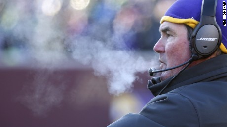Minnesota Vikings head coach Mike Zimmer watches from the sideline during the second half of the game.