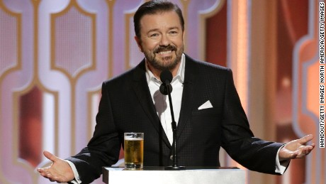 BEVERLY HILLS, CA - JANUARY 10:  In this handout photo provided by NBCUniversal,  Host Ricky Gervais speaks onstage during the 73rd Annual Golden Globe Awards at The Beverly Hilton Hotel on January 10, 2016 in Beverly Hills, California.  (Photo by Paul Drinkwater/NBCUniversal via Getty Images)