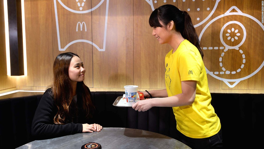 McDonald's Next offers table service after 6 p.m. and premium coffee blends. The branch has also been fitted out with cell phone charging platforms, free Wi-Fi and self-order kiosks.