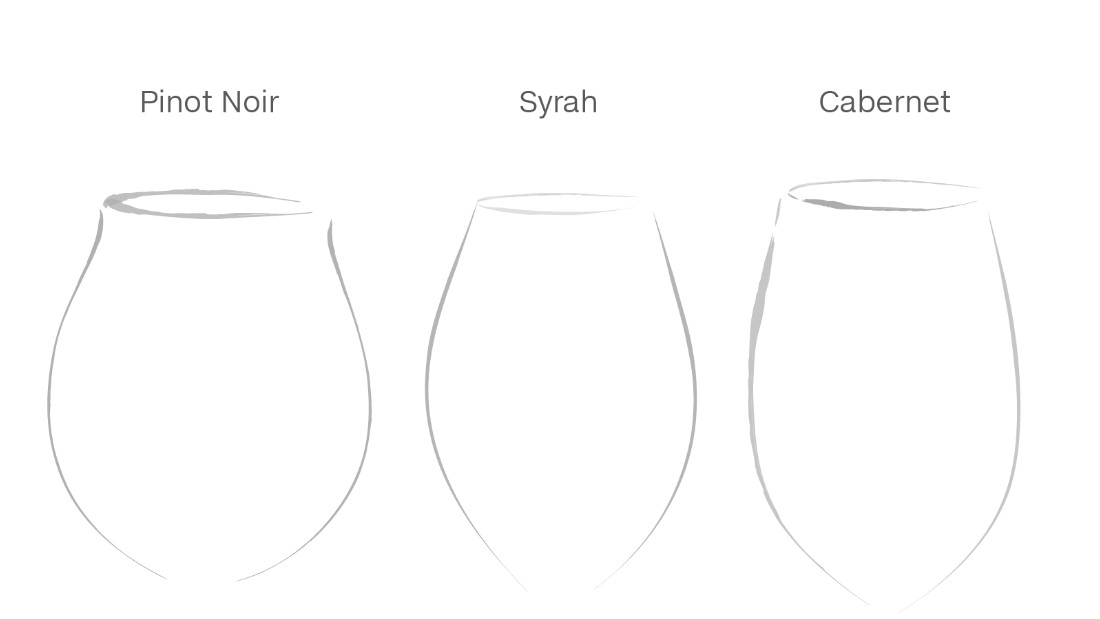 "Riedel walks the class through a tasting of three wines served in three differently shaped glasses. He believes participants should be able to match the wines (results shown above) to the shape that ""best elevates the components of wine better than the other."""