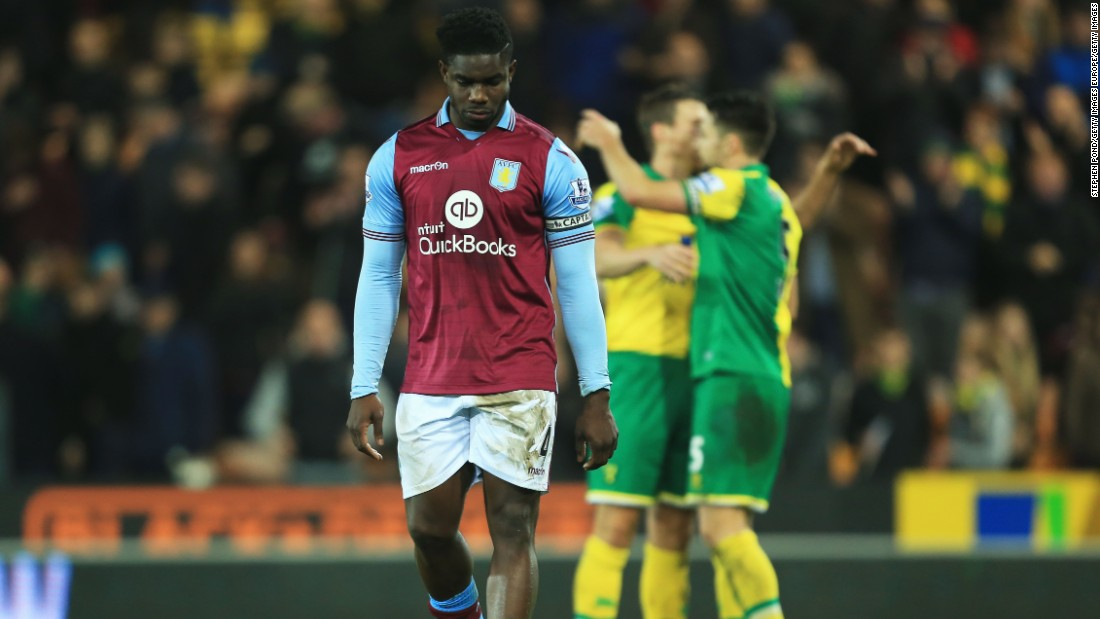 Aston Villa captain Micah Richards dejectedly leaves the field after his side's 2-0 defeat to Norwich City at Carrow Road. The Villans have won just one English Premier League match this season.
