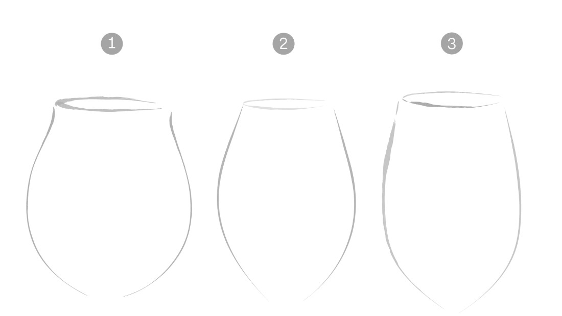 In glass one, the slight lift of the rim outwards forces the drinker to purse their lips tighter to drink the liquid, meaning the water reaches the front of the tongue. Glass two requires the drinker to tilt their head farther back, as the glass opening curves inward. The water falls mainly to the back of the palate. Glass three, more neutral in form, allows for a wide gulp, meaning the liquid hits all parts of the tongue. The exercise demonstrates how a glass can change the way its liquid flows into your mouth.