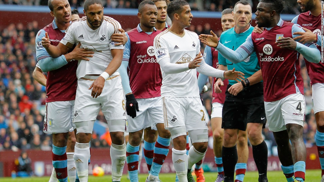 With points in short supply, tempers have frayed. In this image, players separate Richards and Swansea's Ashley Williams during Villa's October defeat.
