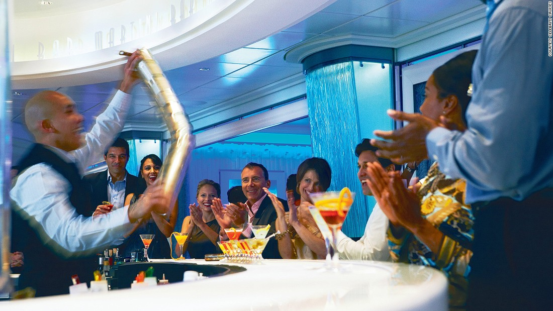 "Celebrity Cruises has a soft spot for showy mixology. At Martini Bar and Crush, bartenders channel their inner Tom Cruise and put on displays straight out of the movie ""Cocktail."""