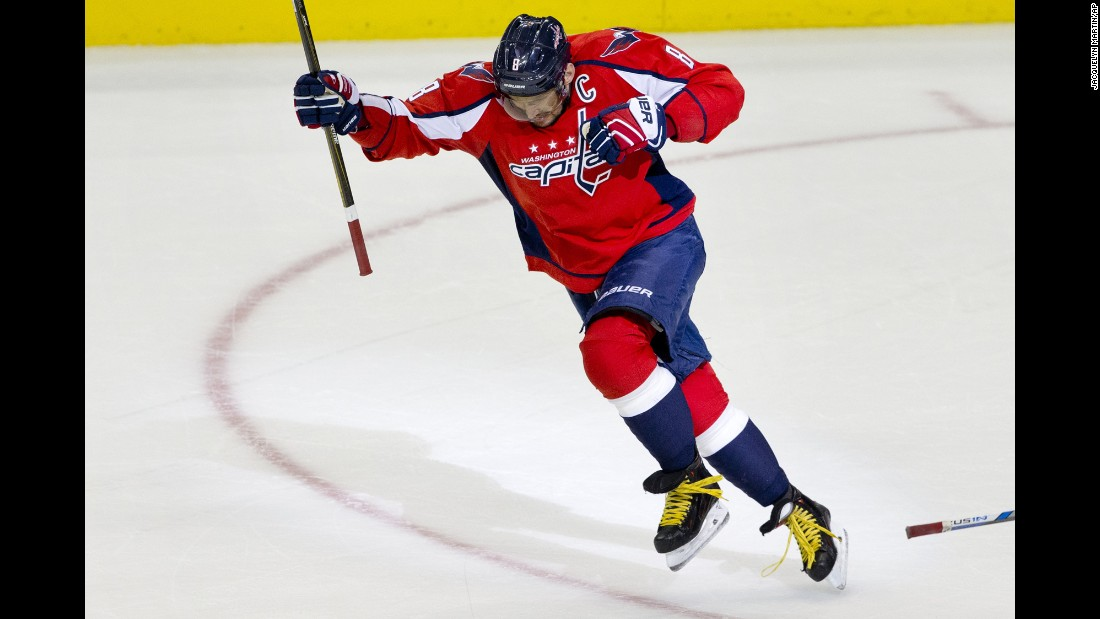 Alexander Ovechkin celebrates after scoring his 500th NHL goal during a game in Washington on Sunday, January 10. Only 43 players have ever scored 500 goals in their NHL careers, and Ovechkin is the first Russian player to reach the milestone.