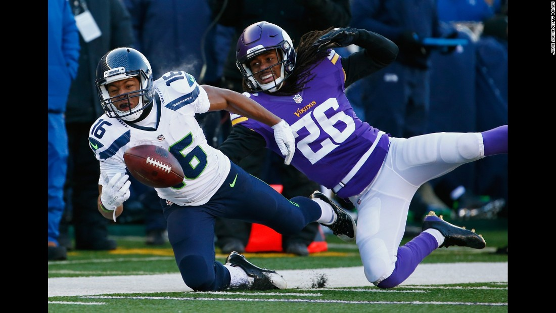 Seattle wide receiver Tyler Lockett, left, is unable to catch a pass as he's defended by Minnesota's Trae Waynes on Sunday, January 10. Seattle would win the playoff game 10-9 after Minnesota kicker Blair Walsh missed a 27-yard field goal late in the fourth quarter.