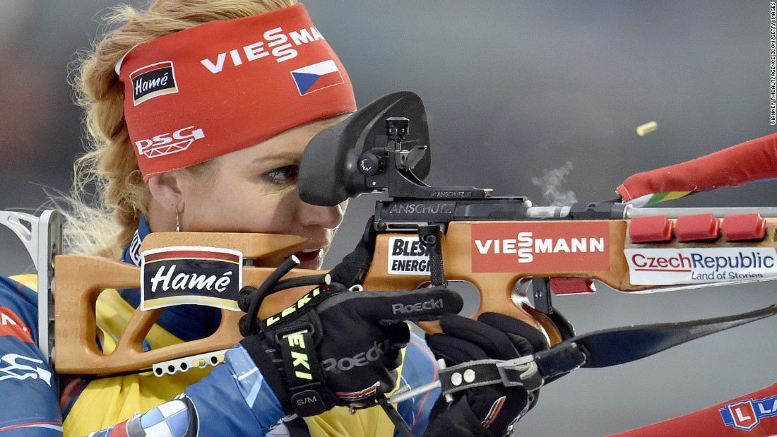 Czech biathlete Gabriela Soukalova looks down the sights of her gun during a World Cup race in Ruhpolding, Germany, on Saturday, January 9. She finished second in the women's pursuit.
