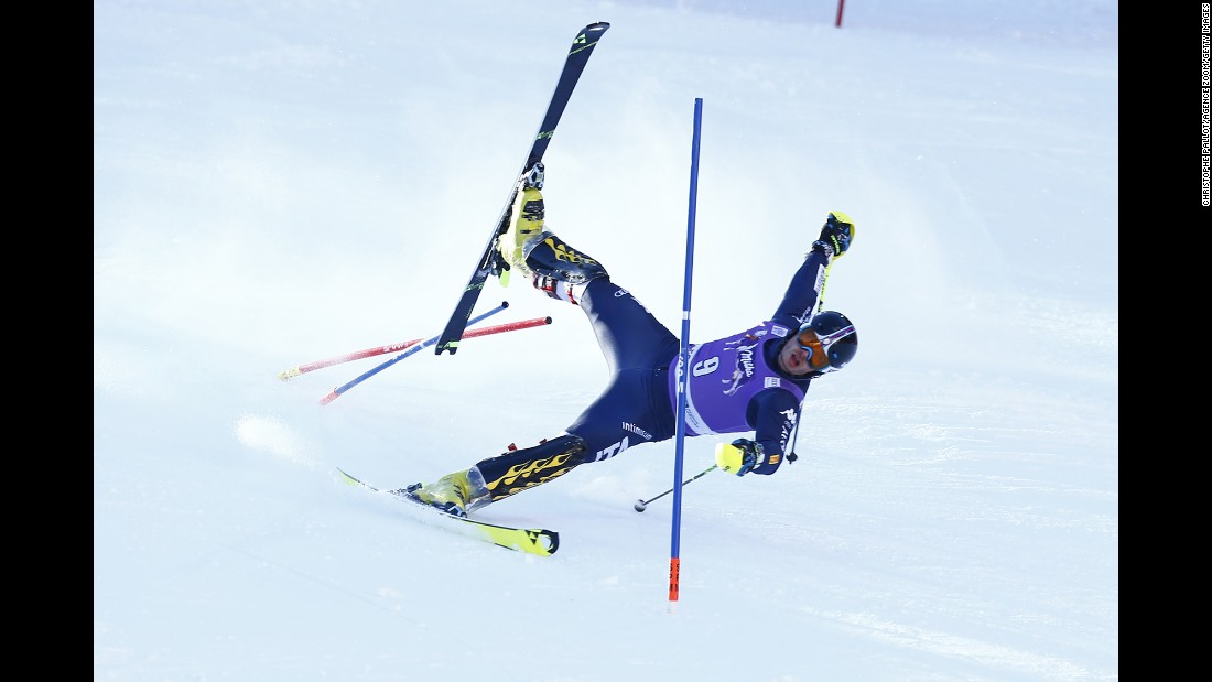 Italian skier Giuliano Razzoli loses his balance Wednesday, January 6, during a World Cup slalom race in Santa Caterina Valfurva, Italy.