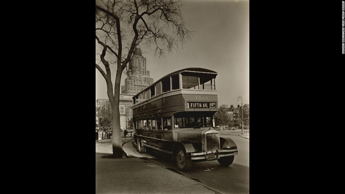 "At the end of Washington Square, Abbott found a double-decker bus. She went on to become a famed architectural and scientific photographer. She passed away in 1991. <a href=""http://cnnphotos.blogs.cnn.com/2013/11/17/the-unknown-berenice-abbott/"" target=""_blank"">Read more: ""The Unknown Berenice Abbott</a>"""