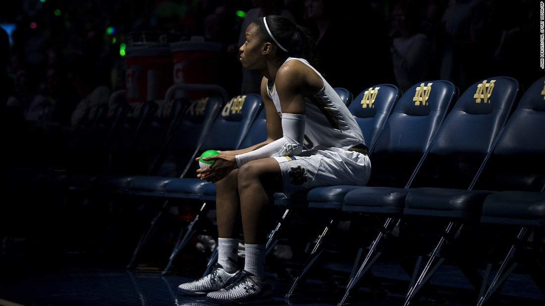 Notre Dame guard Lindsay Allen is introduced before a home game Sunday, January 10, in South Bend, Indiana.