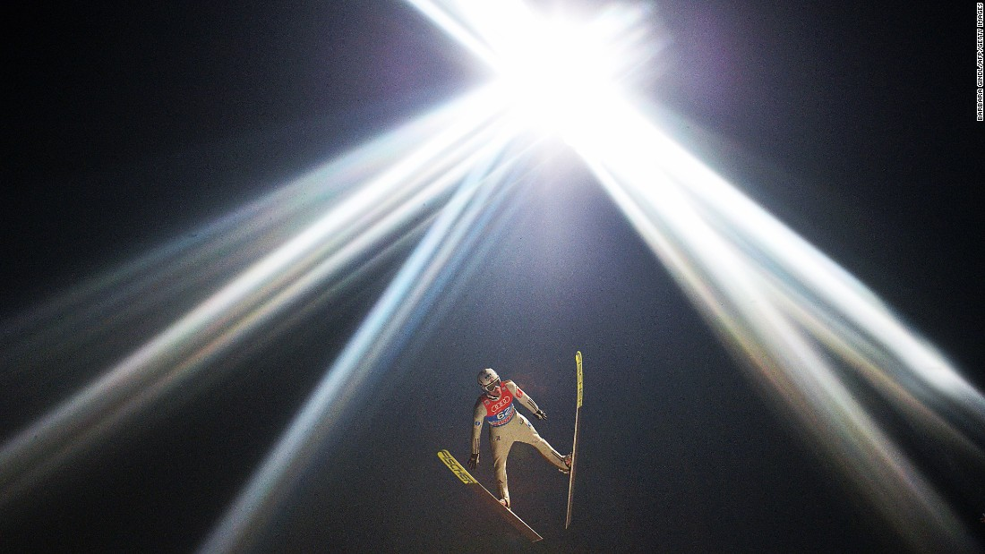 Norwegian ski jumper Kenneth Gangnes competes at the Four Hills tournament Tuesday, January 5, in Bischofshofen, Austria.