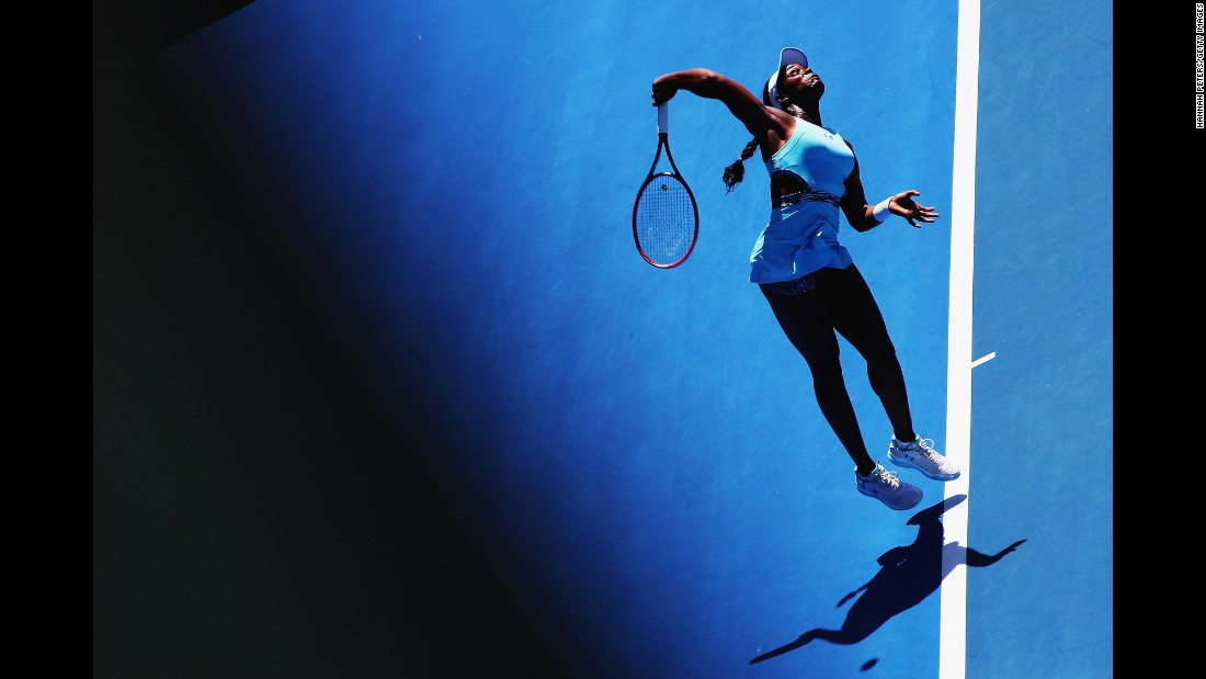 Sloane Stephens serves to Julia Gorges in the final of the ASB Classic, which was played Saturday, January 9, in Auckland, New Zealand. Stephens won in straight sets.