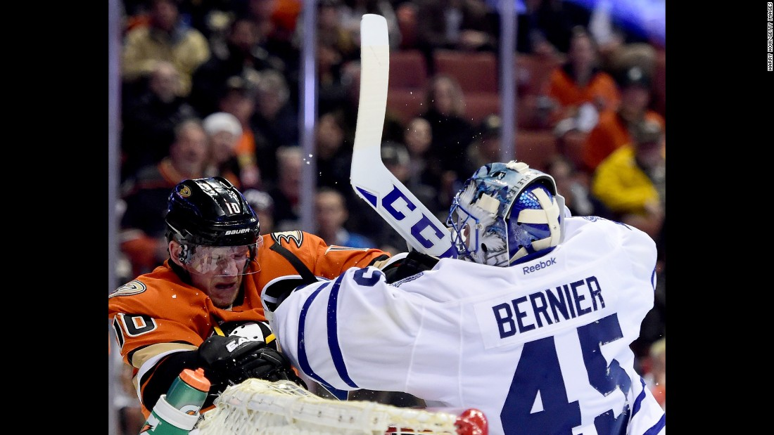 Toronto goalie Jonathan Bernier mixes it up with Anaheim's Corey Perry during an NHL game in Anaheim, California, on Wednesday, January 6.