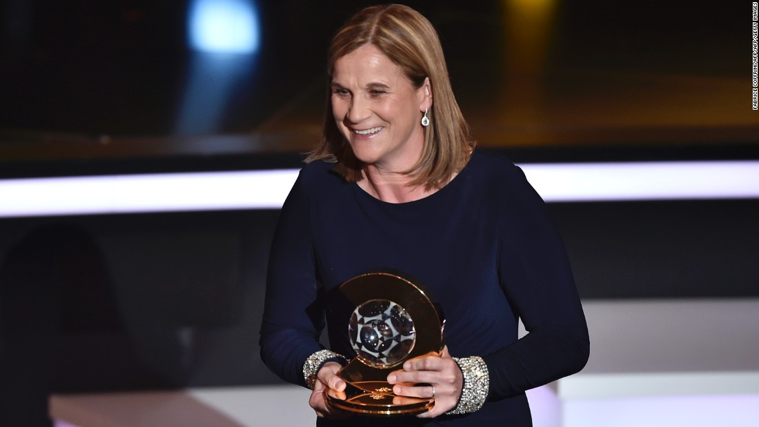 Lloyd's national team coach Jill Ellis was also rewarded for last year's success in Canada, winning the women's coach award.