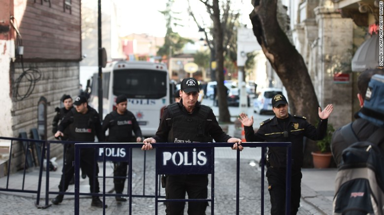 Turkish police cordon off a street in Istanbul.