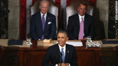 President Barack Obama delivers the State of the Union speech before members of Congress in the House chamber of the U.S. Capitol on January 20, 2015.