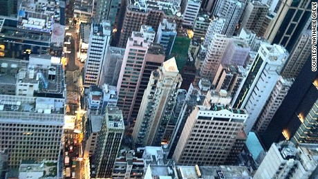 An aerial view of high buildings in Hong Kong.