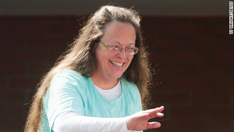 Rowan County Clerk of Courts Kim Davis walks off stage in front of the Carter County Detention Center on September 8, 2015, in Grayson, Kentucky.