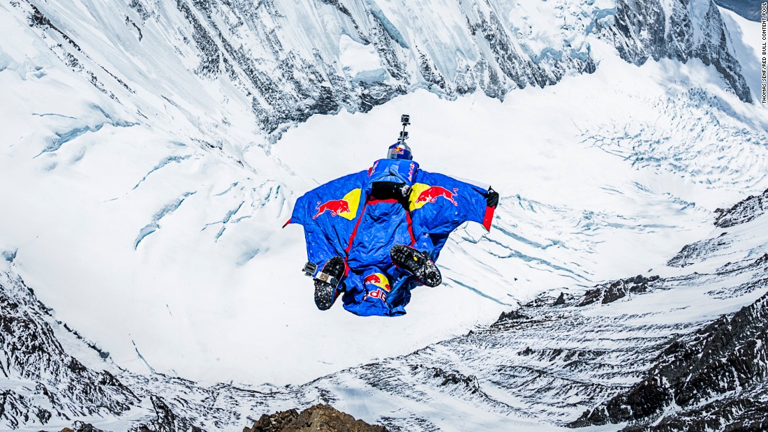 Russian extreme-sports star Valery Rozov jumps off the north face of Mount Everest in May 2013. He leapt from an altitude of 23,687 feet, according to Red Bull, which sponsored the event.