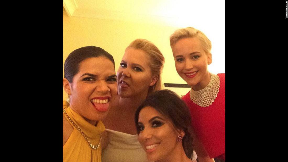 "From left, actresses America Ferrera, Amy Schumer, Eva Longoria and Jennifer Lawrence take a selfie together at the Golden Globe Awards. ""Really good light back here in the presenters green room,"" <a href=""https://www.instagram.com/p/BAYXRsQyahl/?taken-by=americaferrera"" target=""_blank"">Ferrera said on Instagram</a> on Sunday, January 10."